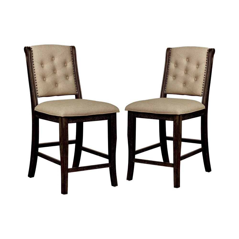 Set of 2 Charmaine Tufted Counter Height Dining Chairs Dark Walnut - Sun & Pine