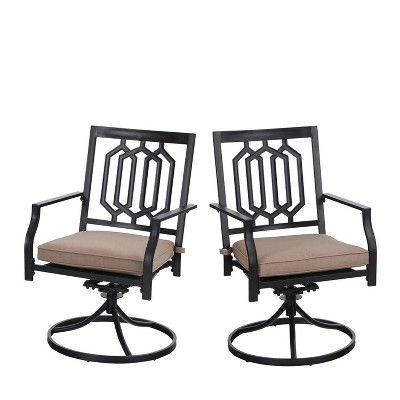 2pc Outdoor Metal Swivel Rocking Chairs with Cushions - Black - Capiva Designs