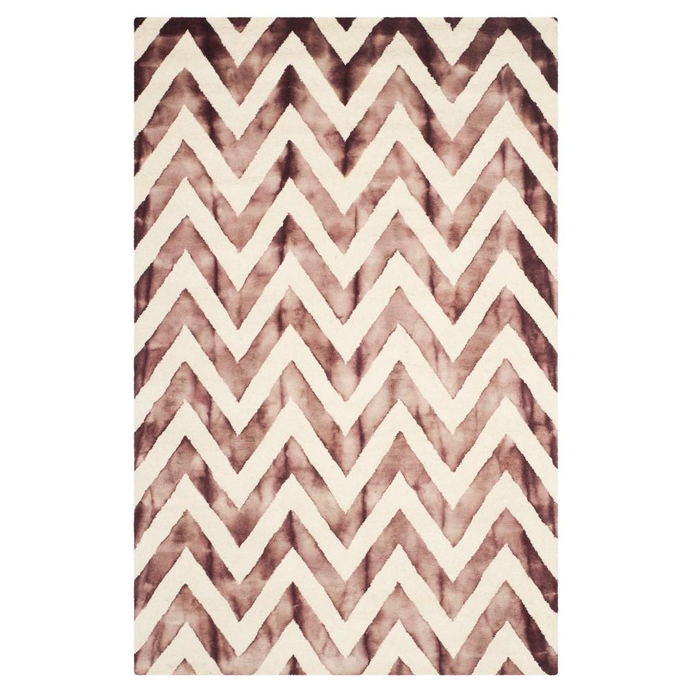 5'X8' Dip Dye Design Area Rug Ivory/Maroon (Ivory/Red) - Safavieh