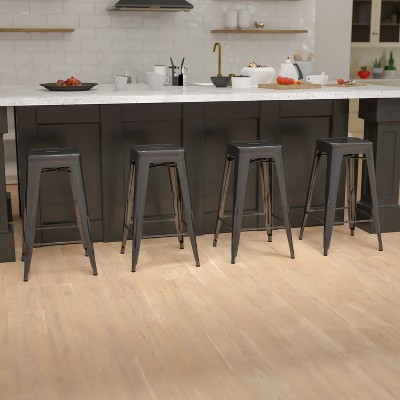 """Emma and Oliver 4 Pack 30"""" High Metal Indoor Bar Stool - Stackable Stool"""