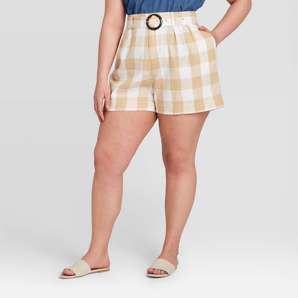 Women's Plus Size Plaid Mid-Rise Pleated Shorts - Who What Wear Beige 16W, Women's was $27.99 now $19.59 (30.0% off)