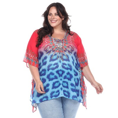 Plus Size Animal Print Caftan with Tie-up Neckline - One Size Fits Most Plus - White Mark