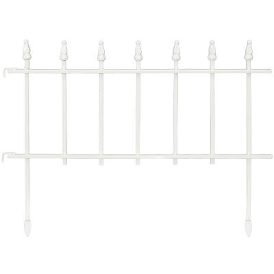 Sunnydaze Outdoor Lawn and Garden Metal Roman Style Decorative Border Fence Panel Set - 9' - White - 5pk