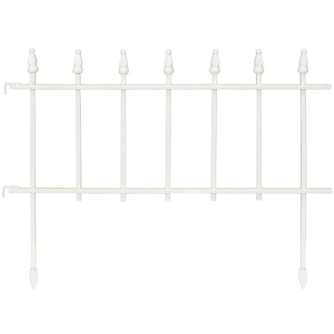 Sunnydaze Outdoor Lawn and Garden Metal Roman Style Decorative Border Fence Panel Set - 9' - White - 5pk - image 1 of 4
