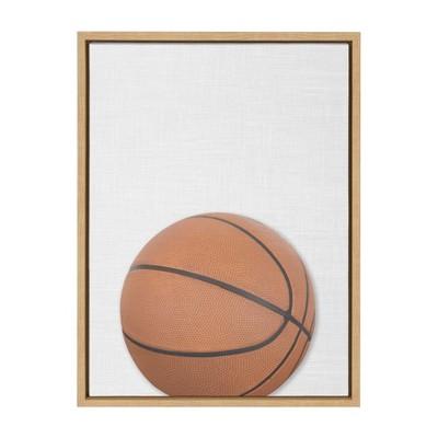 "18"" x 24"" Sylvie Color Basketball PortraitFramed Canvas Natural - DesignOvation"