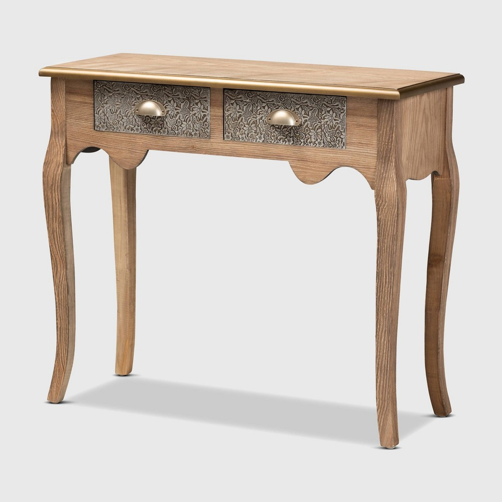 Image of 2 Drawer Clarice Natural Finished Wood and Metal Console Table Brown/Silver/Gold - Baxton Studio