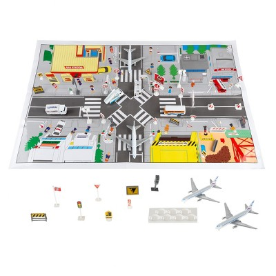 Airport Playset - 43 Piece Diecast and Plastic Airplane and Delivery Truck Toys with Mat and Accessories for Toddlers and Children by Toy Time