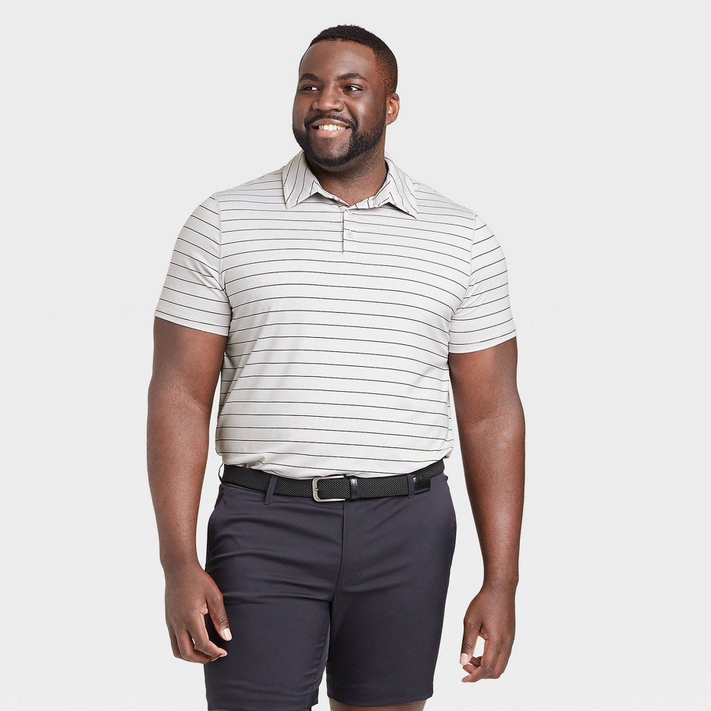 Men's Striped Golf Polo Shirt - All in Motion Silver M was $24.0 now $12.0 (50.0% off)