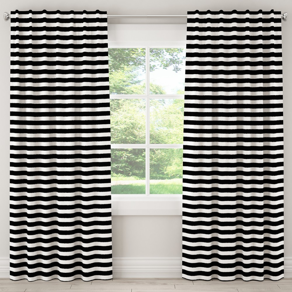 "Image of ""108L Unlined Curtain Horizontal Brush Cabana Black - Cloth & Co., Size: 50""""x108"""""""