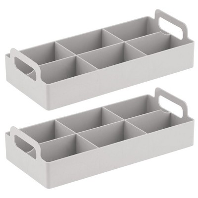 mDesign Compact Plastic Tea Storage Organizer Caddy Tote - 2 Pack
