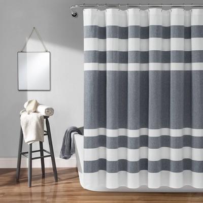 Cape Cod Stripe Yarn Dyed Cotton Shower Curtain Navy/White - Lush Décor