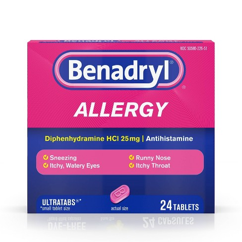 Benadryl Ultratabs Allergy Relief Tablets - Diphenhydramine HCl - 24ct - image 1 of 9