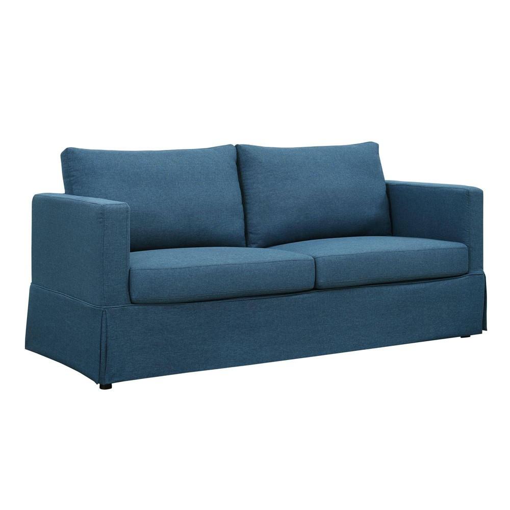 Image of Glacier Skirted Slipcover Sofa Blue - Dorel Living