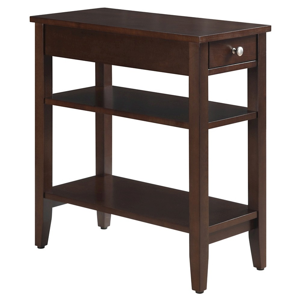 Image of American Heritage 3 Tier End Table - Convenience Concepts, Brown