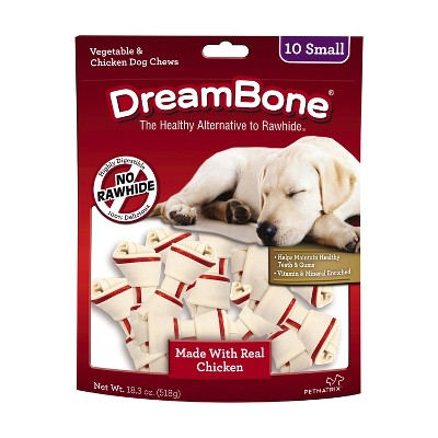 DreamBone Small Chews With Real Chicken 10 Count, Rawhide-FreeChews For Dogs