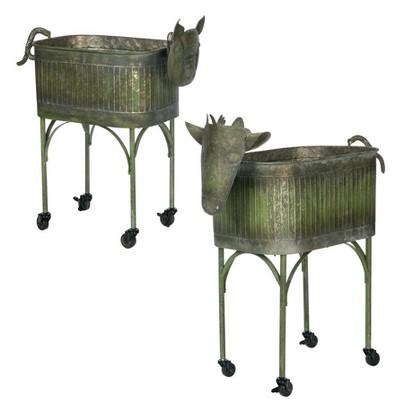 "Sullivans Set of 2 Farm Animal Planters 35.5""H & 29""H Green"