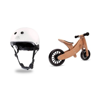 Kinderfeets White Adjustable Toddler and Kids Bike Helmet Bundle with Kinderfeets Brown Tiny Tot PLUS 2-in-1 Balance Trike Tricycle