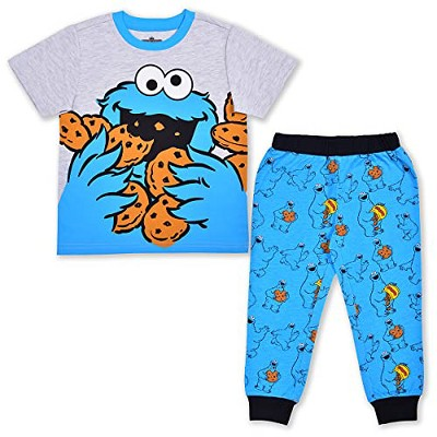 Boy's 2-Piece Sesame Street Short Sleeve Graphic Tee Shirt and Printed Jogger Pant Set for Infants