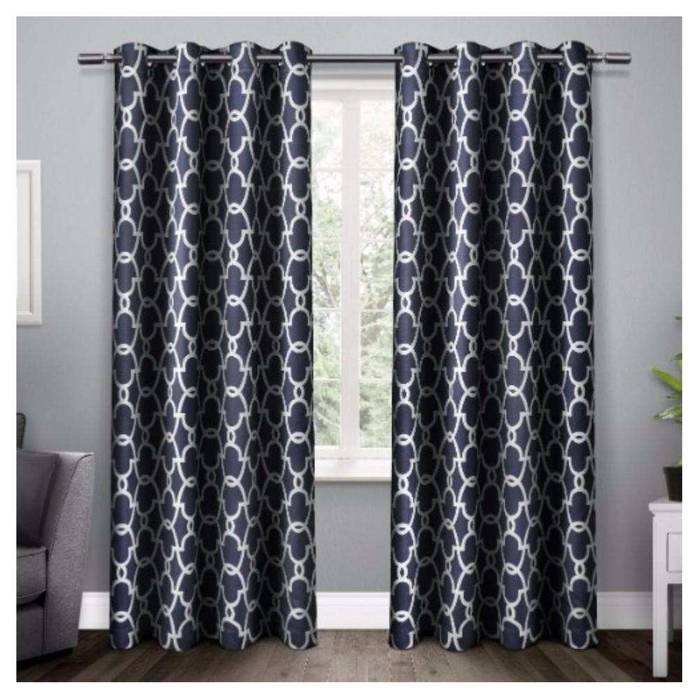 Gates Sateen Woven Room Darkening Grommet Top Window Curtain Panel Pair Peacoat Blue (52