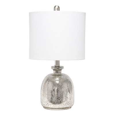 Mercury Hammered Glass Jar Table Lamp with Linen Shade Silver - Lalia Home