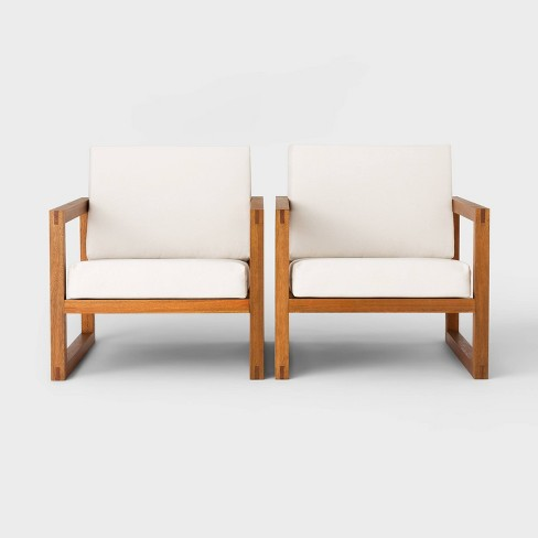 Kaufmann Wood Patio Club Chair - Linen - Project 62™ - image 1 of 4