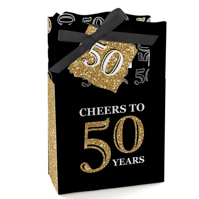 Big Dot of Happiness Adult 50th Birthday - Gold - Birthday Party Favor Boxes - Set of 12
