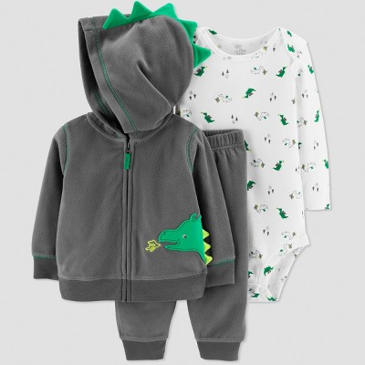 Baby Boys' 3pc Dragon Cardigan Set - Just One You® made by carter's Gray/Green Newborn