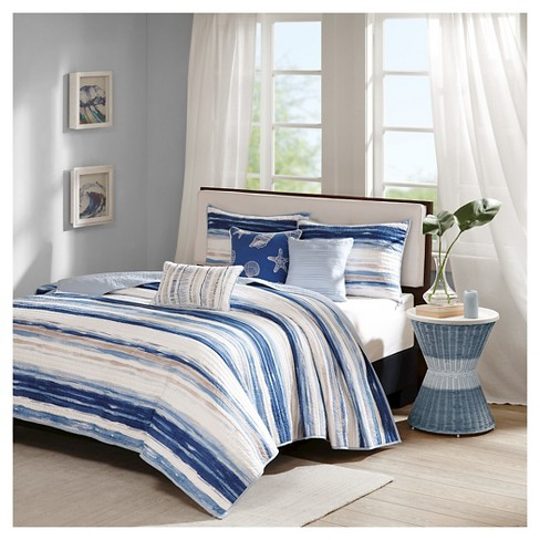 Fairbanks Beach Striped Quilted Coverlet Set Blue 6pc