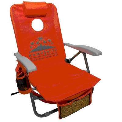 Kamp-Rite BC050 SAC-IT-UP Portable Reclining Folding Camping Patio Lounge Lawn Cornhole Beach Chair Seat with Backpack Straps and Holder, Orange