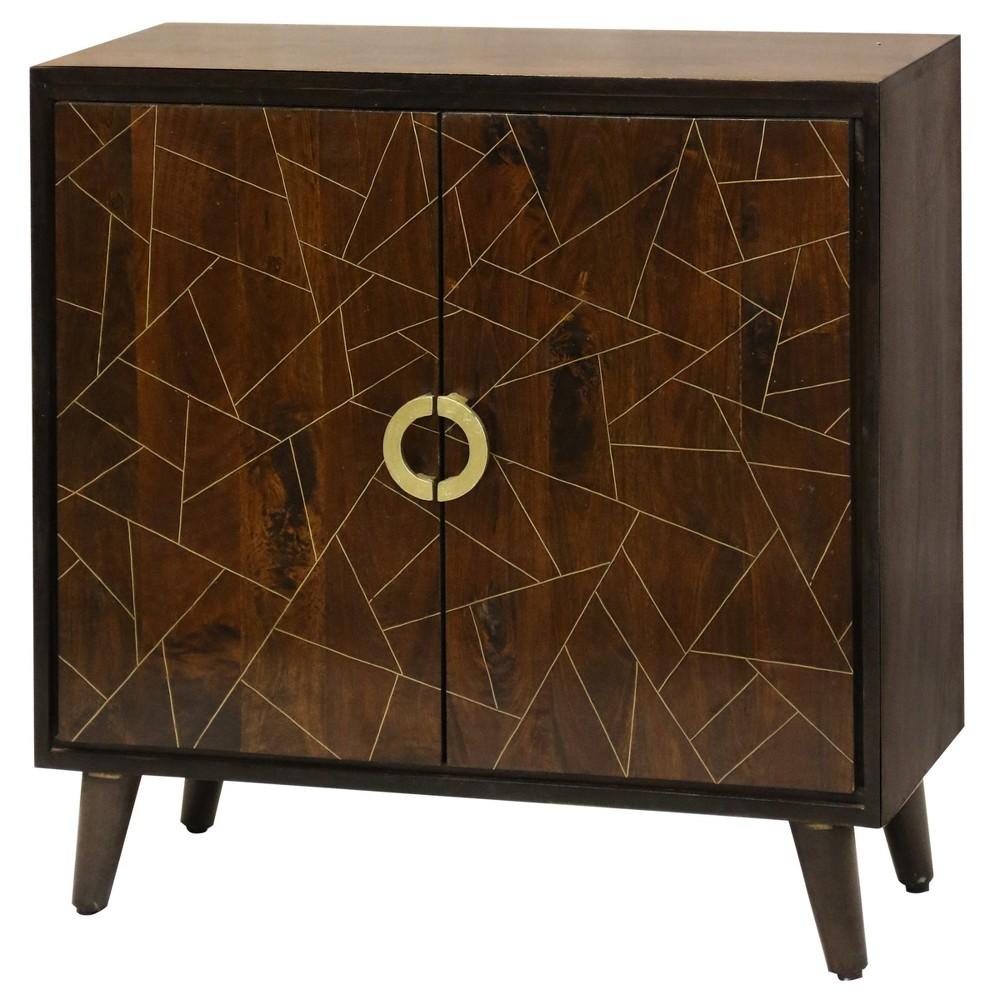 Geometric Pattern 2 Door Cabinet Brown - Stylecraft