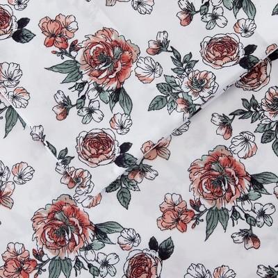 Modern Threads Printed 3 Piece Sheet Set, Rose Bloom.