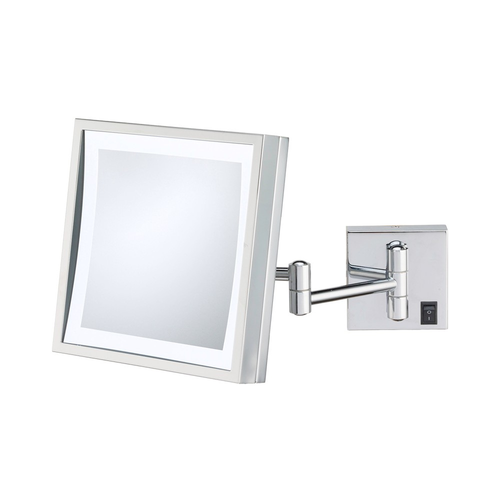 Square Single-Sided Led Lighted Hardwired Wall Magnified Makeup Bathroom Mirror Chrome (Grey) - Aptations