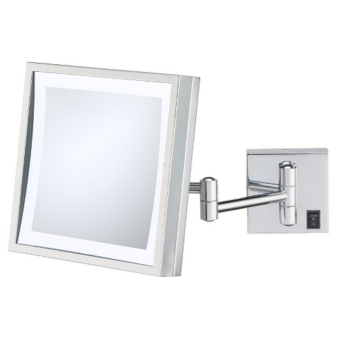 Square Single-Sided LED Lighted Hardwired Wall Magnified Makeup Bathroom Mirror Chrome - Aptations - image 1 of 1