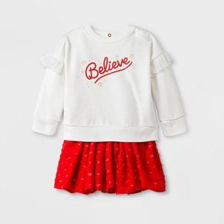 Baby Girls' 'Believe' Holiday Tutu Top & Bottom Set - Cat & Jack™ Cream/Red Newborn