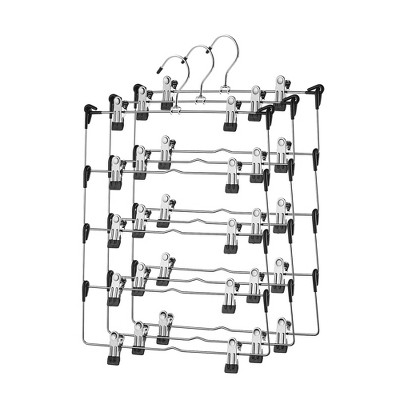 OSTO 5 Tier Metal Pant Hangers with Adjustable Anti-Slip Clips; Anti-Rust Chrome Foldable Hanger for Pants, Skirts, Shorts, Etc.