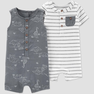 Baby Boys' Safari Stripe 2pk Rompers - Just One You® made by carter's White/Gray Newborn