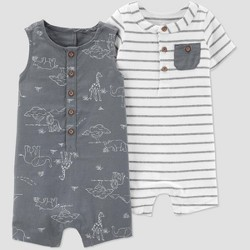 cc3ab6d57 Baby Boys' Safari Stripe 2pk Rompers - Just One You® Made by Carter's White