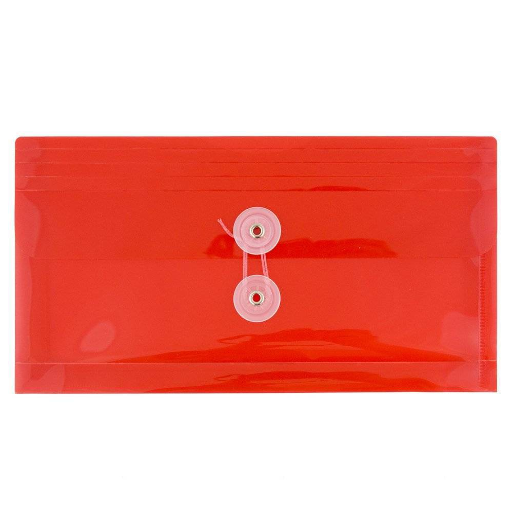 Jam Paper 5 1/4'' x 10'' 12pk Plastic Envelopes with Button and String Tie Closure - Red