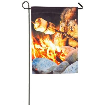 Evergreen Campfire Couple Garden Satin Flag