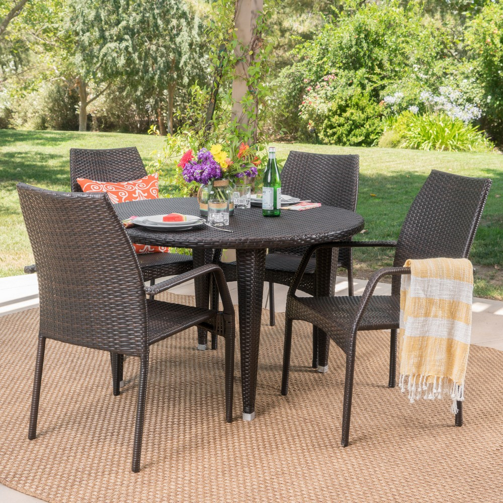 Bair 5pc Wicker Dining Set - Brown - Christopher Knight Home