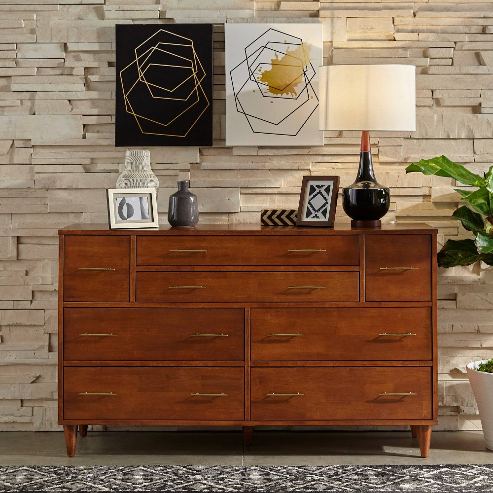 Image of Ana 8 Drawers Dresser Oak - Buylateral, Brown