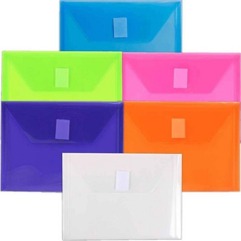 JAM Paper 5 1/2'' X 7 1/2'' 6pk Plastic Envelopes with Hook and Loop Closure, Index - Multicolor - image 1 of 3