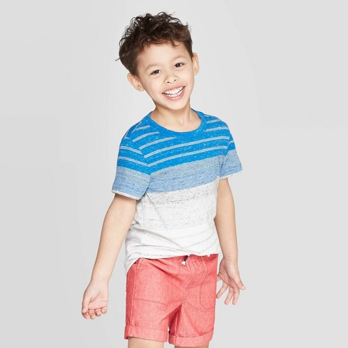 Toddler Boys' Elevated Texture Stripe T-Shirt - Cat & Jack™ Blue - image 1 of 3