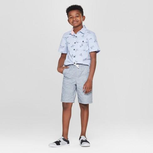 94c64eaff1c7e Boys  Animal Print Short Sleeve Button-Down Shirt - Cat   Jack™ Blue. Shop  all Cat   Jack
