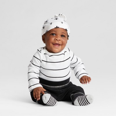 Baby 4pk Long Sleeve Bodysuit Black/White Baby - Cloud Island™