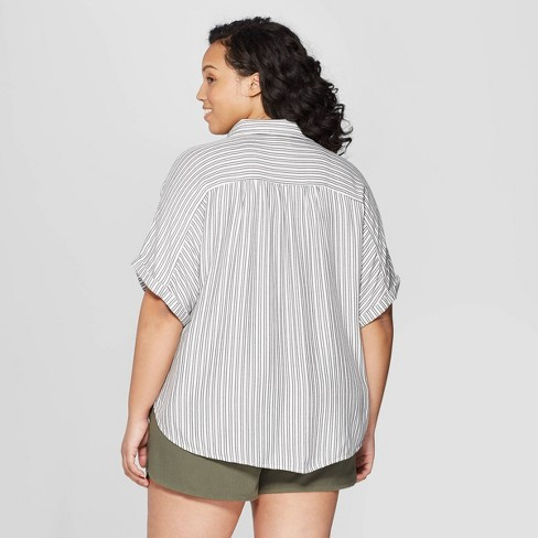 defb29b12a377 Women s Plus Size Striped Short Sleeve Camp Shirt - Universal Thread™ Black