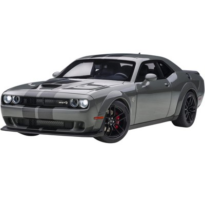 Dodge Challenger SRT Hellcat Widebody Destroyer Gray with Dual Gunmetal Center Stripes 1/18 Model Car by Autoart