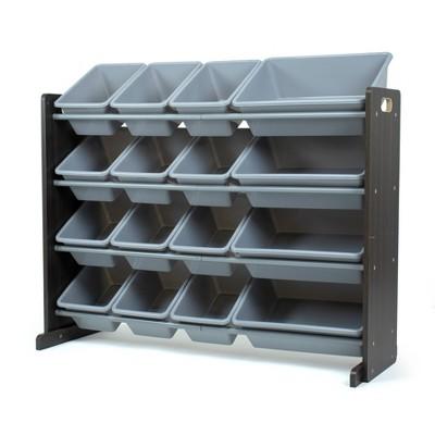 Sumatra Toy Storage Organizer with Storage Bins Espresso/Gray - Humble Crew