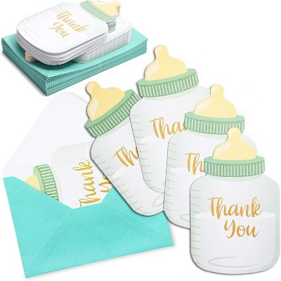 36-Pack Baby Bottle Shaped Thank You Cards Notes with Envelopes for Boy Baby Shower & Birthday Party, Blue