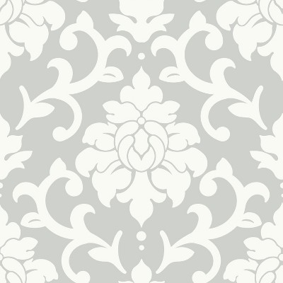RoomMates Damask Peel & Stick Wallpaper Gray